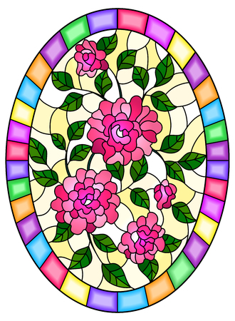 Illustration in stained glass style flower of pink roses on a yellow background in a bright frame,oval  image Stok Fotoğraf - 124387912