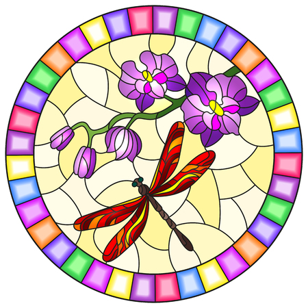 Illustration in stained glass style with a branch of purple Orchid and bright red dragonfly on a yellow background, round image in bright frame