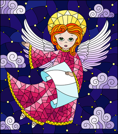 Illustration in stained glass style with cartoon  angel in pink dress with scroll in hands against the cloudy night sky Illustration