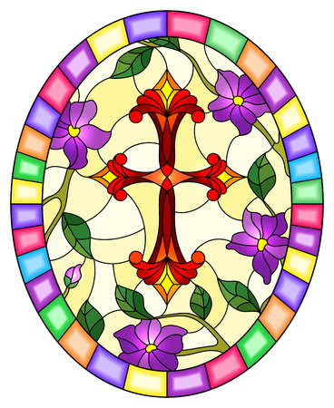 Stained glass illustration with a  red Christian cross  and pink flowers on yellow background, oval picture in a bright frame Stok Fotoğraf - 124387915