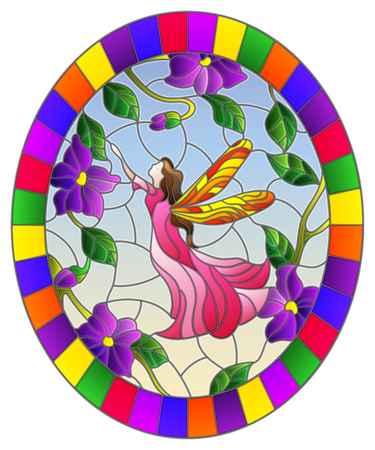 Illustration in stained glass style with a winged fairy in the sky,purple  flowers and greenery,oval image in bright frame 向量圖像