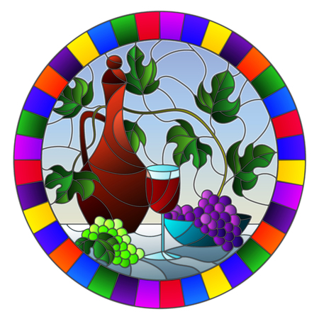 The illustration in stained glass style painting with a still life, a jug of wine, glass and grapes on a blue background,oval image in bright frame Stok Fotoğraf - 124387919