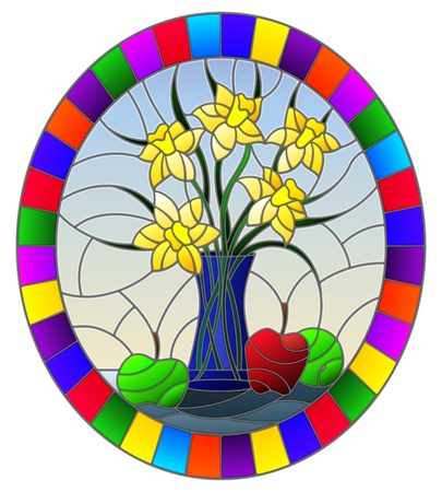 Illustration in stained glass style with bouquets of Narcissus flowers in a blue vase and apples on table on blue background, oval image in bright frame Stok Fotoğraf - 124387920