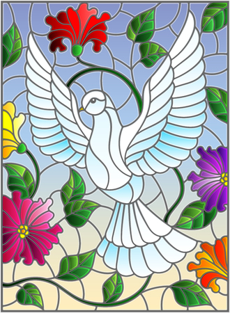 Illustration in stained glass style with flying white dove on sky background with flowers