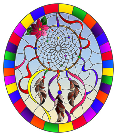 Illustration in stained glass style with dream catcher  on sky background, oval image in bright frame