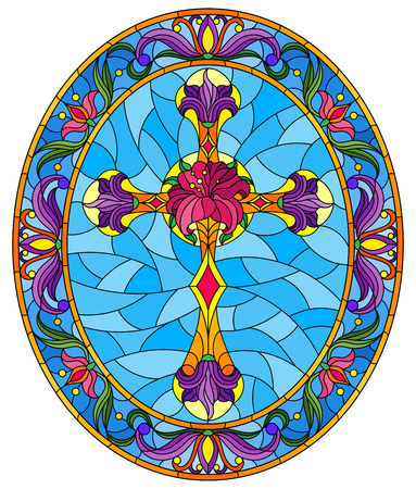 Illustration in stained glass style with Christian cross decorated with  purple flowers on blue background, oval image in floral frame 向量圖像