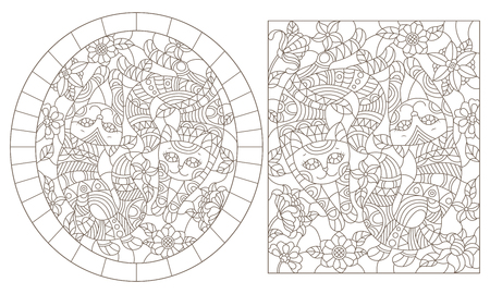 A set of contour illustrations of stained glass Windows with cats on a background of colors, dark contours on a white background