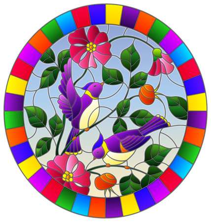 Illustration in stained glass style with two purple birds on the branches of blooming wild rose on a background sky