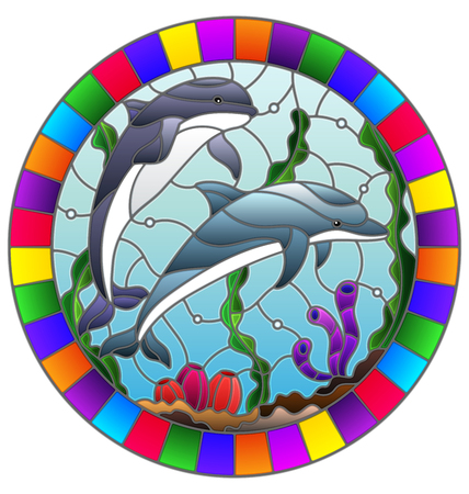 Illustration in stained glass style with a pair of dolphins on the background of water and the seabed,oval image in bright frame Stok Fotoğraf - 124387932