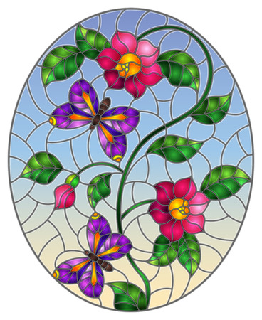 Illustration in stained glass style with abstract curly pink flowers and a purple butterfly on blue background , oval image Stok Fotoğraf - 124387824