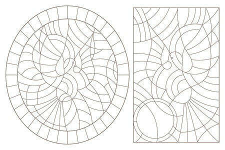 Set of contour illustrations of stained glass Windows with abstract doves , dark contours on a white background
