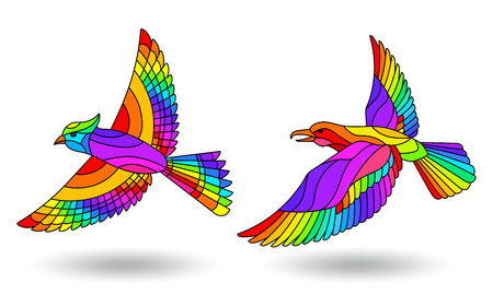 Set of stained glass illustrations with birds, bright rainbow birds on white background