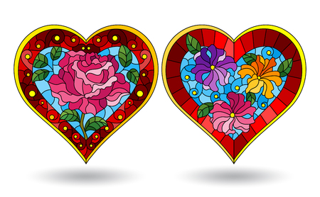 Set of stained glass illustration hearts, bright hearts with flowers on white background Stok Fotoğraf - 124387832
