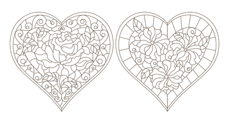 Set of contour illustrations of stained glass Windows with abstract hearts and colors , dark contours on white background Stok Fotoğraf - 124387833
