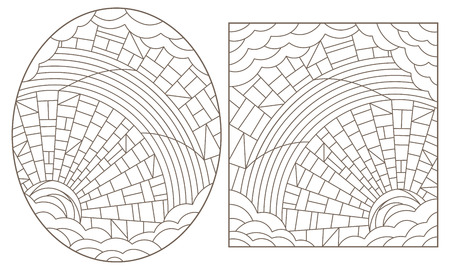 A set of contour illustrations of stained glass Windows with abstract celestial landscapes, dark contours on a white background