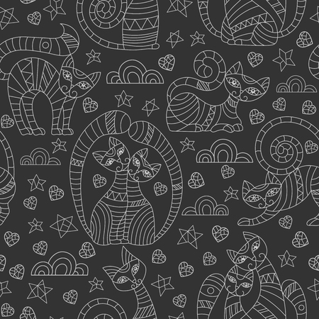 Seamless pattern with abstract cats, stars and hearts, light outline drawings on dark background