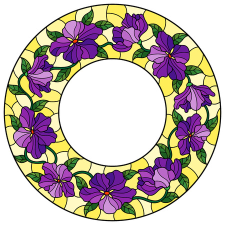 Illustration in stained glass style flower frame, purple flowers and  leaves in yellow frame on a white background