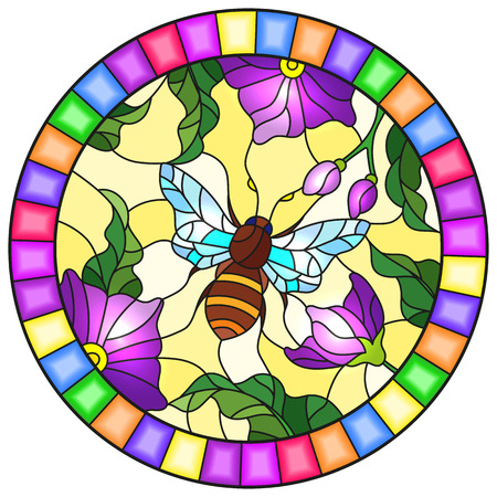 Illustration in stained glass style with a bright purple flowers and bee on a yellow background, round image in bright frame