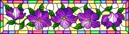 Illustration in stained glass style with purple flowers and leaves on yellow background, horizontal image in bright frame