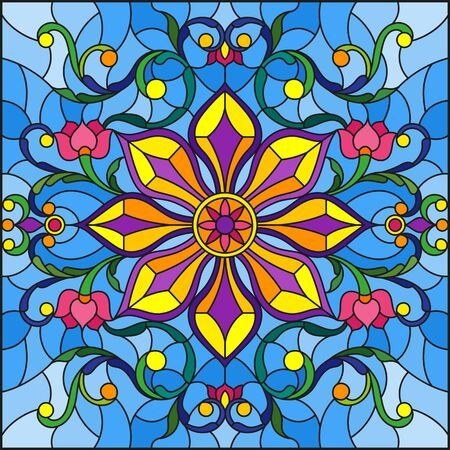 Stained glass illustration with abstract floral ornaments, flowers, leaves and curls on blue background, square illustration