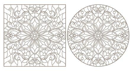 Set di illustrazioni di contorno con motivi floreali astratti, immagine rotonda e quadrata, contorni scuri su sfondo bianco Vettoriali