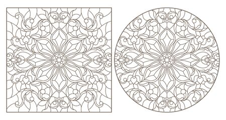 Set of contour illustrations with abstract floral patterns, round and square image, dark contours on white background Çizim