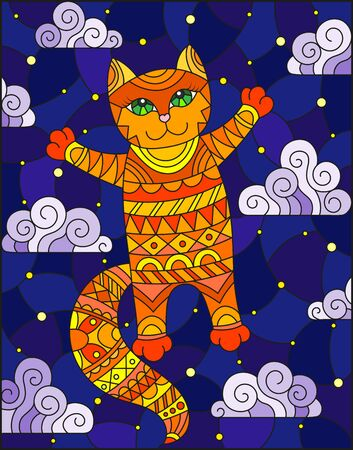 Stained glass illustration of a cartoon red  cat  on the background of  starry sky and clouds