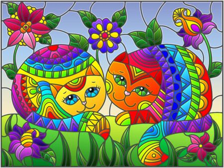 Illustration in stained glass style with a pair of rainbow cute cats on a background of meadows, bright flowers and sky