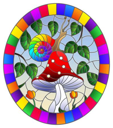 Illustration in stained glass style snail on the mushroom , on the background branches with leaves , grass and sky,oval image in bright frame