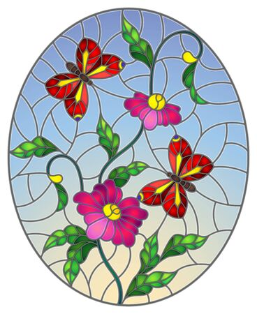 Illustration in stained glass style with abstract curly pink flowers and a red butterfly on blue background , oval image Illustration