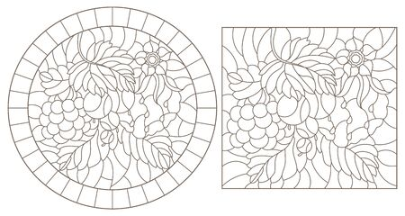 A set of contour illustrations of stained glass Windows with berries, flowers and leaves, dark contours on a white background