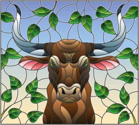 Illustration in stained glass style with bull head,on the background of tree branches and the sky, a rectangular image Illustration