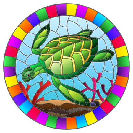 Illustration in stained glass style with sea turtle on the seabed background with algae, fish and stones, oval image in bright frame Illustration