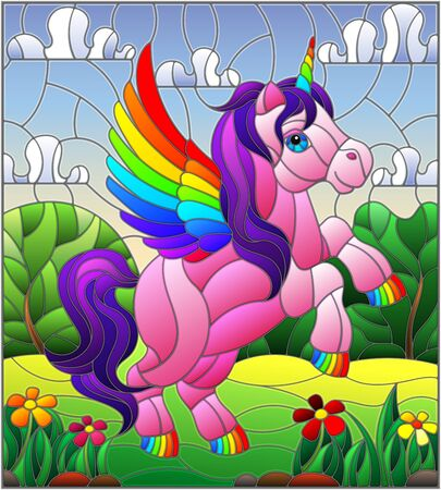 Illustration in stained glass style with pink cartoon unicorn on  background of  greenery and sky