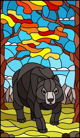 Illustration in stained glass style with wild bear on the background of autumn trees, mountains and sky 矢量图像