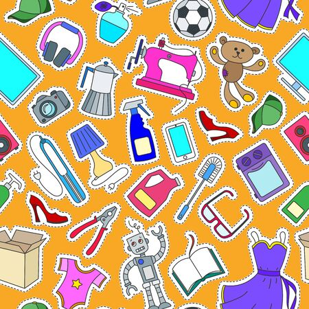 Seamless pattern on a theme of products and shopping, simple purchase icons, color patch  icons on orange background