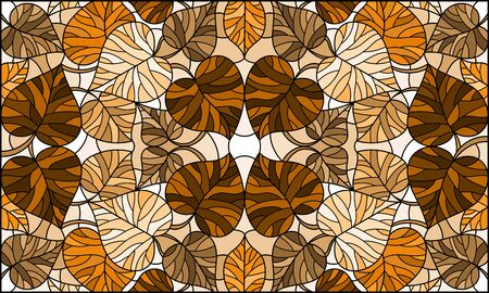 Illustration in stained glass style with leaves of trees, tone brown,sepia Illustration