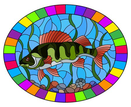 Illustration in stained glass style with a  fish  perch on the background of water and algae, oval image in bright frame
