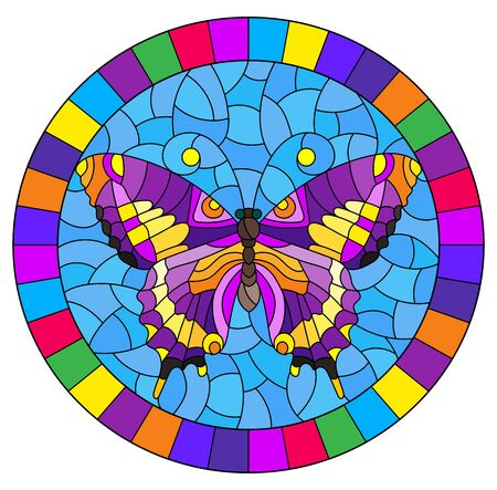 Illustration in stained glass style with bright purple butterfly on blue background, oval picture in bright frame Illustration