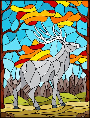 Illustration in stained glass style with wild deer on the background of autumn trees, mountains and sky