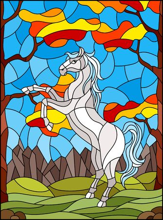Illustration in stained glass style with wild horse on the background of autumn trees, mountains and sky
