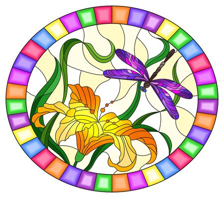Illustration in stained glass style with bright purple dragonfly against the sky, foliage and flower of  orange Lily, oval image in bright frame