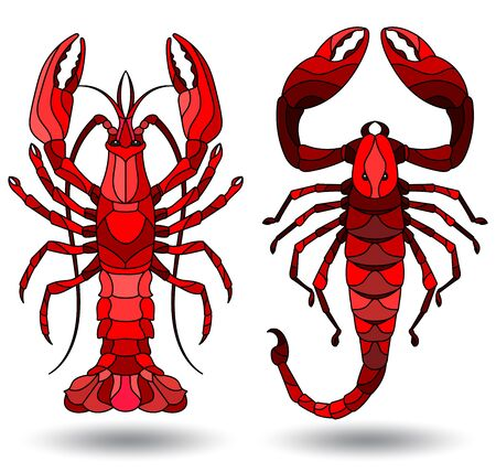 Set of illustrations in stained glass style with red Scorpion and crayfish , isolated on white background