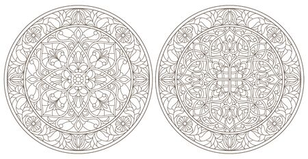 Set contour illustrations of stained glass, round stained glass floral, dark outline on a white background Ilustração