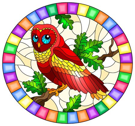 Illustration dans le style de vitrail avec un fabuleux hibou rouge assis sur une branche d'arbre, cadre photo ovale en clair Vecteurs