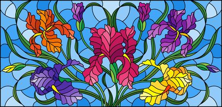 Illustration in stained glass style with purple bouquet of irises, flowers, buds and leaves on blue background Illustration