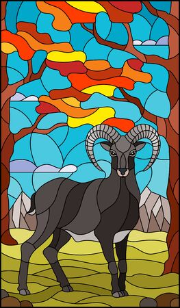 Illustration in stained glass style with wild RAM on the background of autumn trees, mountains and sky
