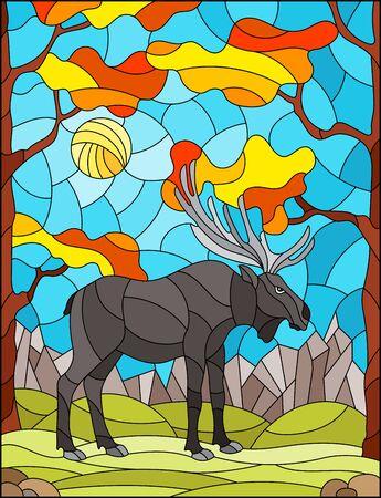 Ilustración en estilo vitral con alces salvajes en el fondo de árboles otoñales, montañas y cielo