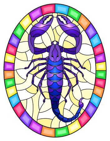 Illustration in stained glass style with abstract blue Scorpion on yellow background,oval picture in a bright frame,