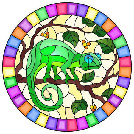 Illustration in stained glass style with bright gree  chameleon on plant branches background with leaves and berries on yellow background, round image